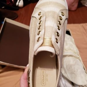 Kennedi Lurex Canvas Coach Sneakers